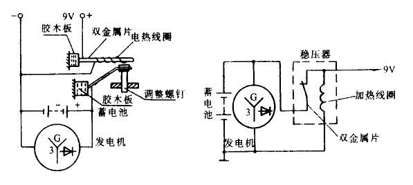 当电路接通后,电流经稳压器的常闭触点后分成两路,一路经稳压器电热线圈搭铁后回到电源负极,另一路经稳压器双金属片输出加于燃油表和水温表的加热线圈,最后经传感器搭铁,回到电 源负极。   电源稳压器的双金属片由钢片和铜片制成,其上绕着加热线圈,当电流通过稳压器加热线圈时产生热量,使双金属片受热变形,由于铜的膨胀系数大于钢的近一倍,所以双金属片向钢的一侧弯曲,使触点张开,电流被中断。待冷却几分之一秒后,电路又重新接通,这样循环往复,使稳压器输出稳定的电压,一般为(8,640.